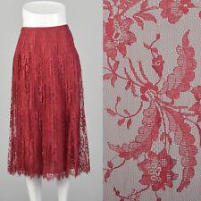 S 1970s André Laug Audrey Hepburn Red Lace Skirt Pleated Silk Designer 70s Vtg