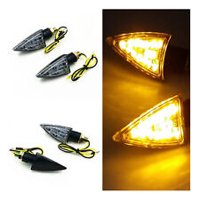 Black LED Triangle Dual Sport Turn Signal Light For Honda Kawasaki Suzuki Yamaha