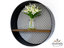Round Wall Hanging Mesh Shelf Display Shabby Vintage Industrial Style Kitchen