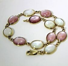 """Pretty Pink & White Mother of Pearl Oval 9ct Yellow Gold 7 1/4"""" Bracelet"""