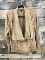 ANA Women's Faux Suede 1/2 Zip Drape Jacket Size 2X