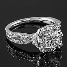 2 Ct Diamond Engagement Ring Round Cut SI1/D White Gold 14k