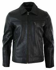Mens Classic Real Leather Soft Hide Zipped Collar Box Jacket Smart Casual Fit