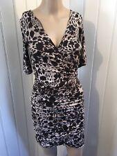 H & M Brown Black White Animal Print Stretch Wrap Dress Size XS (6/8)