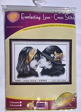 Everlasting Love Cross Stitch- Lovely Lovers 11ct Printed Fabric-Black and White