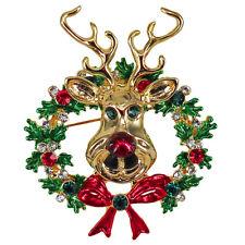 RUCINNI Wreath/Deer Brooch, 20K Gold plated and Swarovski Crystals