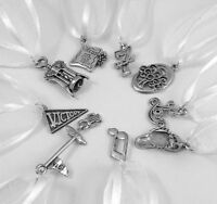 Nine (9) Pewter Uplifting CAKE PULL Charms -3543