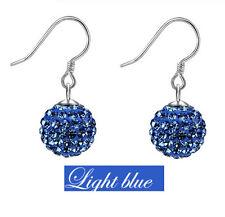 925 Sterling Silver Swarovski Elements Crystal Disco Ball Dangle Drop Earrings