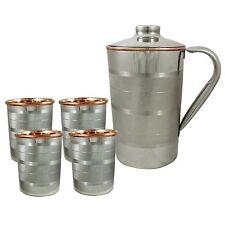Silver Indian Copper Drink Water Polished Hammered Jug 4 Tumbler SET of 5 Pcs