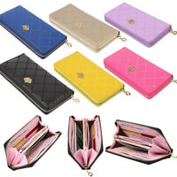 Women Zipper Leather Long Purse Ladies Clutch Phone Bag Wallet Card Cash Holder