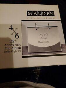 """Malden International Designs 4"""" x 6"""" 25th Anniversary Flip Album Holds 40 Photos"""