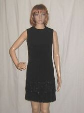 Vintage 60s Black Mini Dress Fringe Beaded Mod FLapper Cocktail Party Small