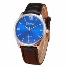 New Geneva Luxury Blue Black Leather Silver Stainless Men Quartz Dress Watch