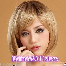 Latest New Short Dark Blonde Woman's Like real human hair Wig + wig cap