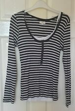 Grey and White Striped Long Sleeved Ribbed Top from New Look Size 14