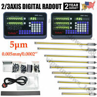 2/3 Axis Digital Readout Linear Scale DRO Display CNC Milling Lathe Encoder US