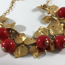 Vtg Kenneth Jay Lane Gold Tone Leaf Baubles Cherry Necklace Couture Runway