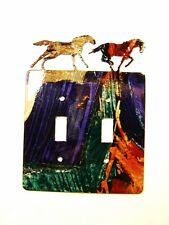 2 Wild Horses Running Free Double Light Switch Cover Plate by LaZart 030315Y