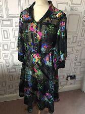 VINTAGE 60'S BLACK FLORAL SHEER MOD DRESS DRESS UK 16 LARGE