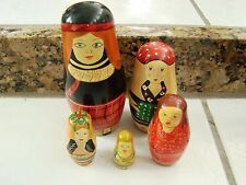 Wood Nesting Dolls Women 5 dolls Authentic Models Different ones