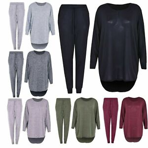 NEW Ladies High Low 2 Piece Tracksuit Women Casual Top and Bottoms Loungewear Su
