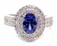 Sterling Silver Tanzanite And Diamond 2ct Double Cluster Ring (925) Free Box