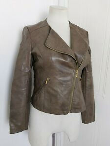 LAURA ASHLEY Brown Soft Faux Leather Biker Style Jacket 12 Smart Casual Day