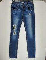 Refuge Womens sz 6 Dark Blue Stone Wash Distressed Mid-Rise Skinny Stretch Jeans