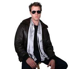 Grey Silk Aviator Scarf for Men - Double Layered Satin Silk by Royal Silk