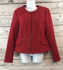 Express Size L Red Crew Neck Tailored Jacket Zip Front Fitted Cropped Large Coat