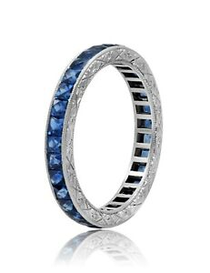 Princess Blue Sapphire Eternity Platinum Ring Art Deco Handmade Engraved Antique