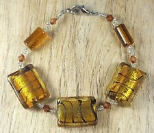 *Freedom Tree* Amber Gold Silver Foil Murano Glass Stripes Bead Bracelet