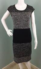 Womens Max Studio Cap Sleeve Black Striped Knit Sheath Dress Sz S Small