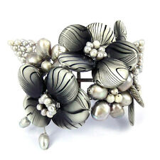 Gray Zebra Garden Mother of Pearl and Pearl Cuff