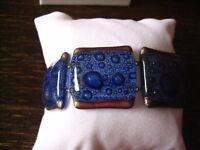 elegantes Armband blau silber 2,7 cm NEU Kunsthandwerk Arts & Crafts Boho Unikat