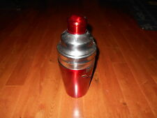 """Large Stainless Steel Cocktail Shaker with Dial a Drink Recipe 12""""H HUGE RED Sil"""