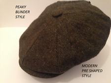 MENS NEWSBOY BAKER BOY SHAPED  PEAKY BLINDERS GREEN HERRINGBONE CAP XL 59-60CM