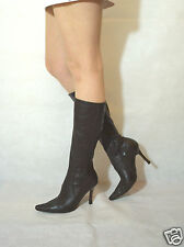 Women Brown Dark Mid Calf Boots elegant Real Leather Zipped River Island Size 4