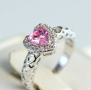 Pink Heart Halo Engagement Ring Promise Ring Gift for Her