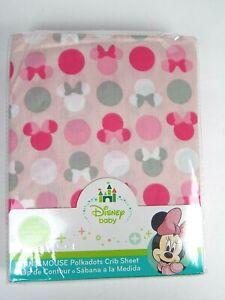 "Disney Baby Minnie Mouse Polk A Dots Crib Sheet 100% Cotton Sateen 28x52"""