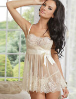 SEXY Babydoll LINGERIE Bridal Lace Bust in IVORY Size 8 10 12 14 16 18 20 22