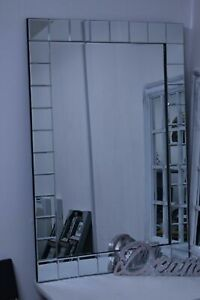 Large Wall mirror Bevelled blocks Edge elegant new simple stylish design 60x90cm