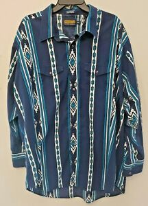 Mens PANHANDLE SLIM Long Sleeve Pearl Snap Button Western Aztec Shirt Size 2XL