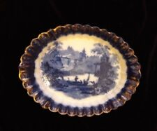 """Rare Oval Fluted Serving dish BAKERS & KENT (B&K) """"FLORENCE"""" FLOW BLUE and GILT"""