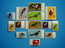 Uganda 1965 Aves Set Completo De 14 valores de 5cts a 20shs Estampillada sin montar y marginales.