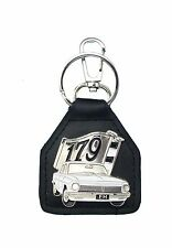 EH 179 Flags with White Sedan   Quality Leather Key
