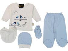 Neugeborenen Baby 5-tlg Geschenk Set Unisex Blau Little Birds Weiß Niedlich NEU