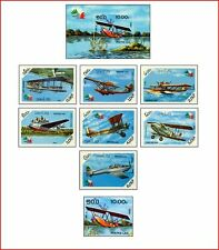 LAO85052 Airplanes landing on water 8 stamps and block