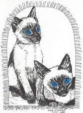 Siamese Cats Pair with Blue Eyes - 18 Blank Notecards and Linen Style Envelopes