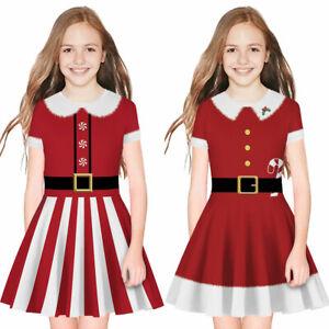 Kids Girls Christmas Santa Claus Dress Princess Short Sleeve Xmas Party Dress